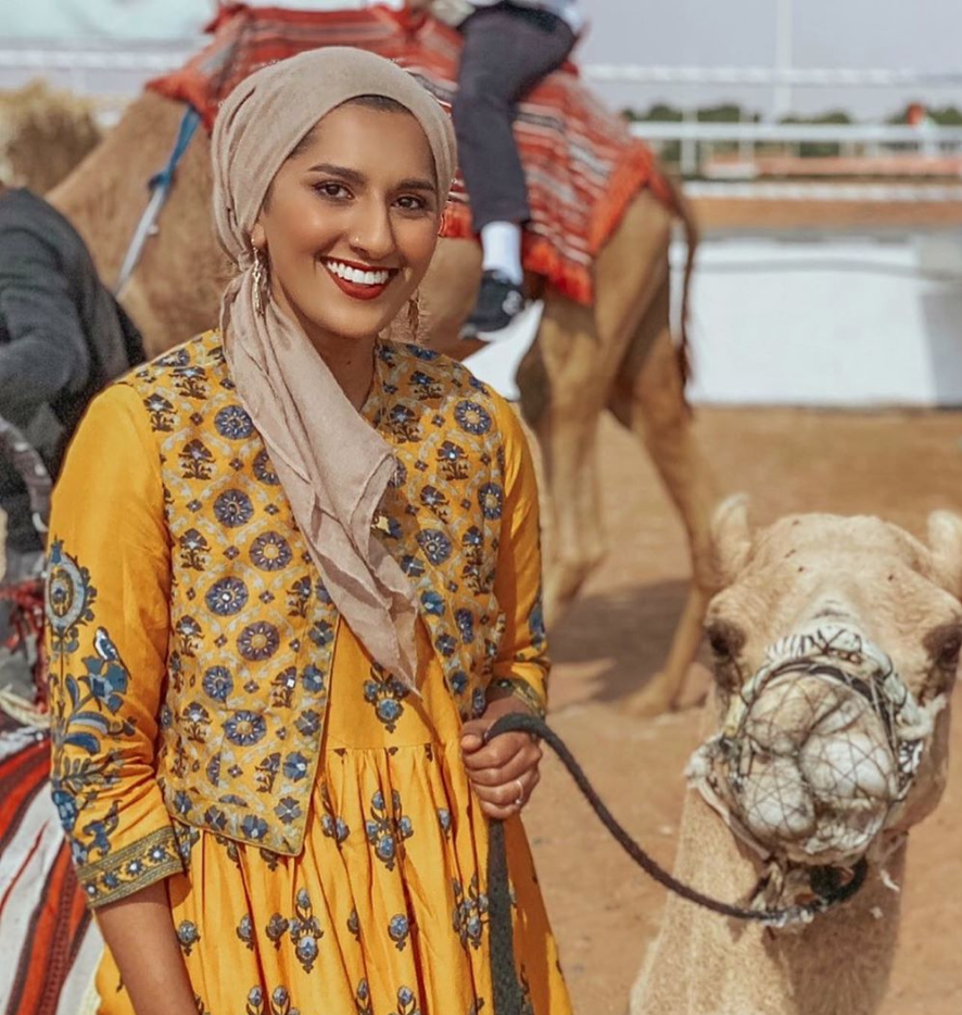 Rafa Farihah in a Yellow Dress in Lahbab Desert Safari with Camel Solo